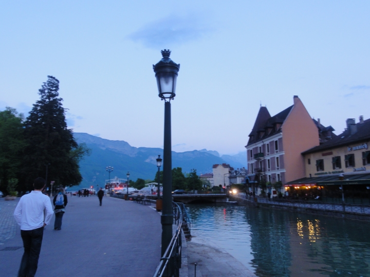 Dusk settles over this beautiful town that is surrounded by the Alps!