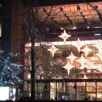 The lights by Columbus Circle/ Time Warner Center that change color.
