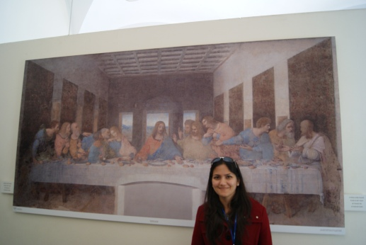"Posing with the reproduction, after witnessing the original Last Supper in the ""no photography"" zone."