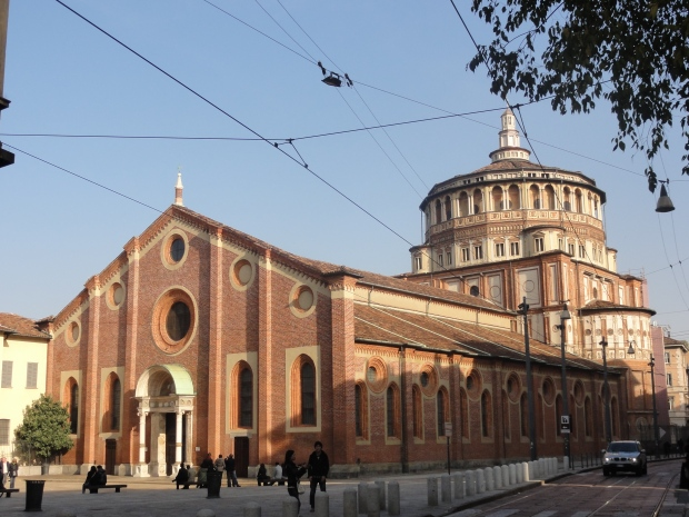 The convent of Santa Maria della Grazie where the Last Supper resides - photo taken from across the road and tram lines