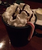 Frothy hot chocolate with a candy cane