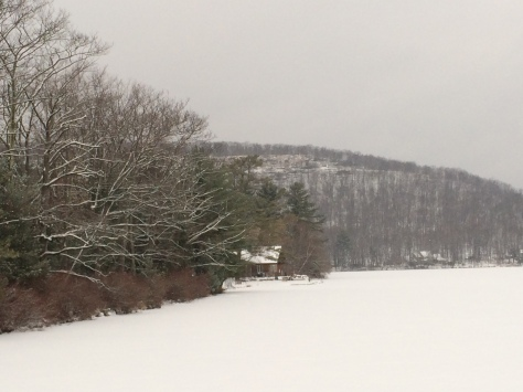 The white expanse in the picture is the snow covered frozen lake