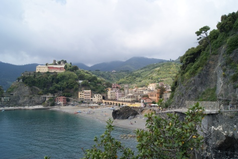 Looking back at Monterosso, as we progress on the trail from Monterosso to Vernazza.