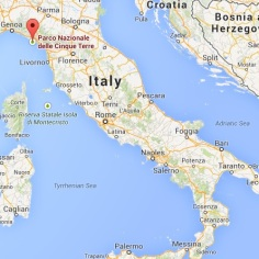 Cinque Terre on the Italian map