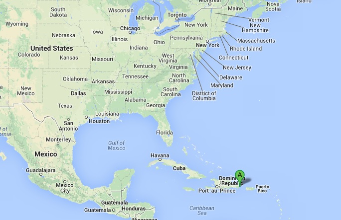 Punta Cana on the map.