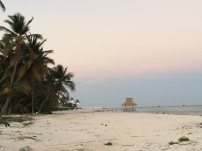 A solitary evening stroll on the now deserted beach.