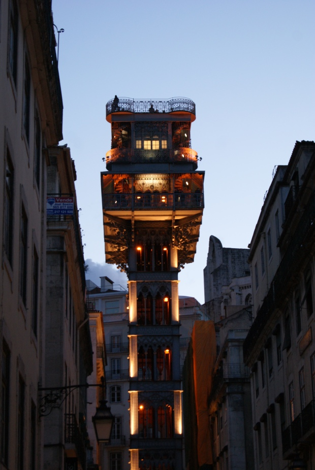 The Santa Justa lift, lit up in the evening
