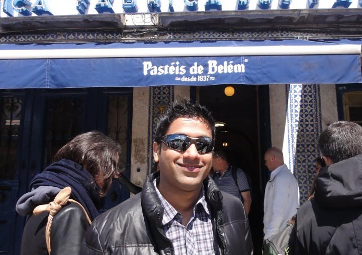 Sachin outside Pasteis de Belem