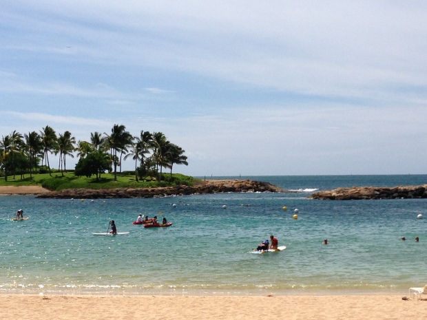 The calm waters of some beaches are perfect to try a hand (and leg) at water sports such as stand-up paddle boarding!
